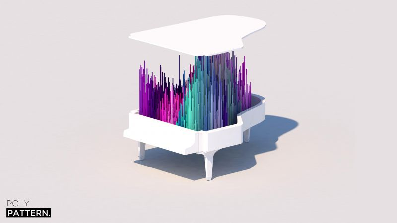 piano, 4k, 5k, iphone wallpaper, low poly, abstract, minimalism (horizontal)