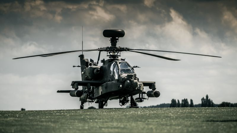 Boeing AH-64D Apache, attack helicopter, Royal Netherlands Air Force, dark sky (horizontal)