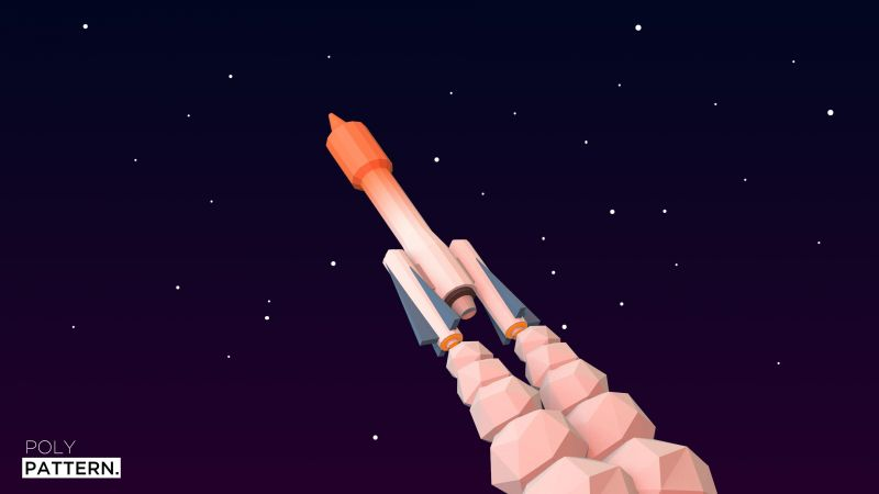 rocket launch, 4k, 5k, iphone wallpaper, low poly, minimalism (horizontal)