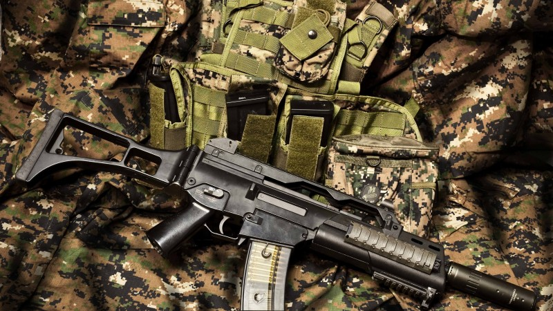 HK G36, Heckler & Koch, Gewehr 36, assault rifle, Germany, ammunition, uniform, army (horizontal)