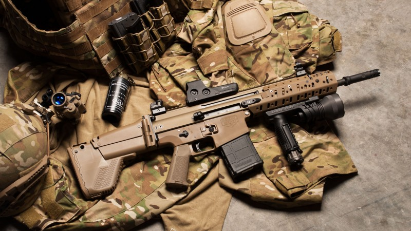 FN SCAR, assault rifle, modular rifle, FN Herstal, hand grenade, military, ammunition, uniform (horizontal)