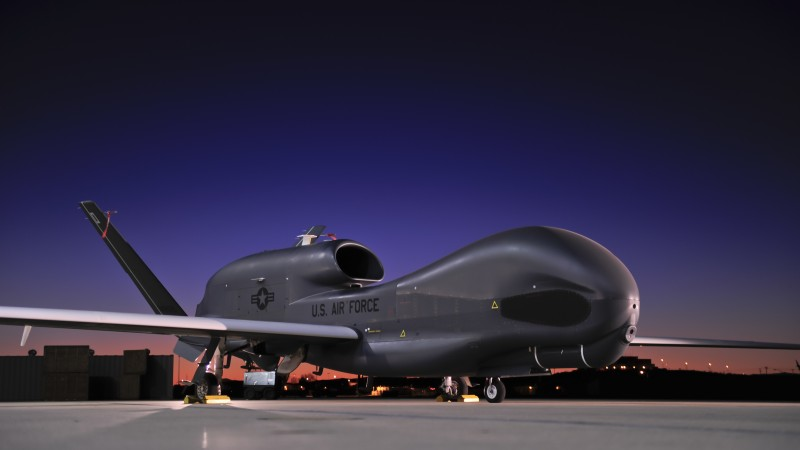 RQ-4, Global Hawk, Northrop Grumman, drone, Surveillance UAV, UAV, USA Army, U.S. Air Force, airdrome, sunset (horizontal)