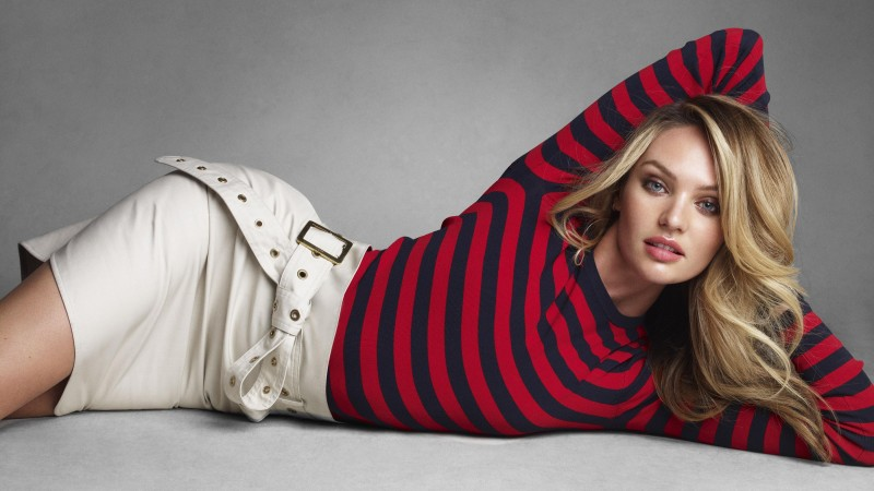 Candice Swanepoel, model, Victoria's Secret Angel, blonde, red shirt, white (horizontal)