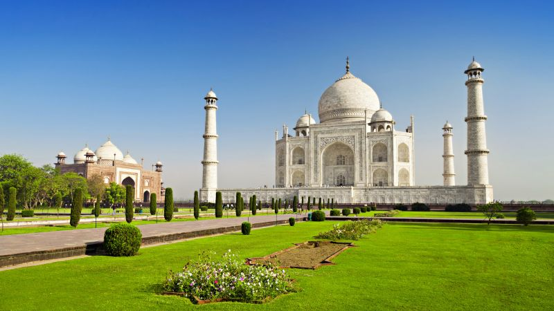 Taj Mahal, India, temple, castle, travel, tourism, 6k (horizontal)