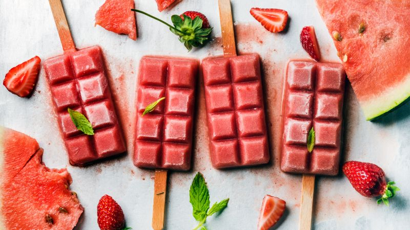 ice cream, strawberry, watermelon, delicious, 4k (horizontal)