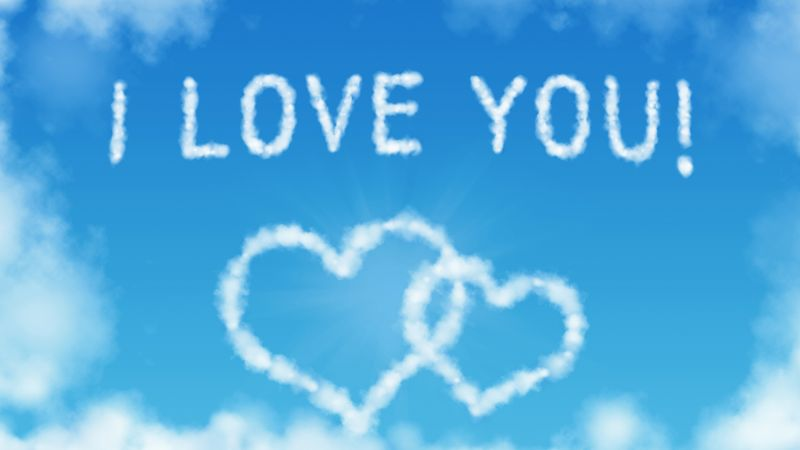 love image, heart, 5k, clouds (horizontal)