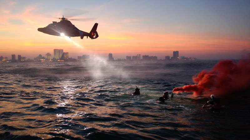 coast guard, rescue, MEDEVAC, rescue helicopter, training, sea, night (horizontal)