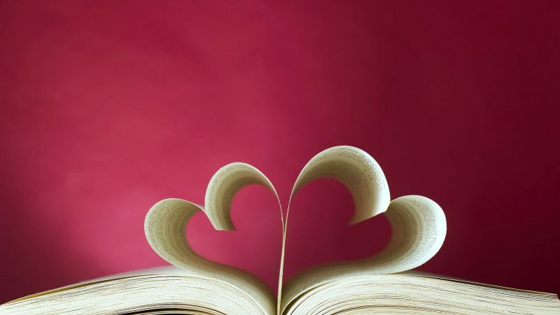 love image, heart, book, 5k (horizontal)
