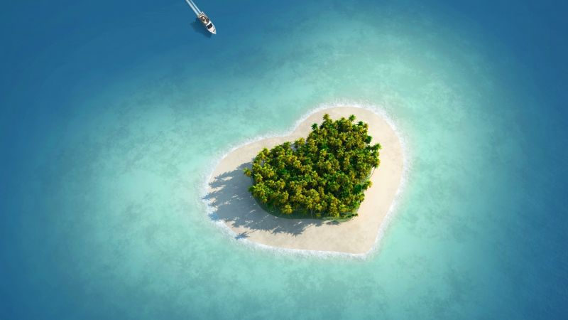 love image, heart, HD, island, ocean (horizontal)