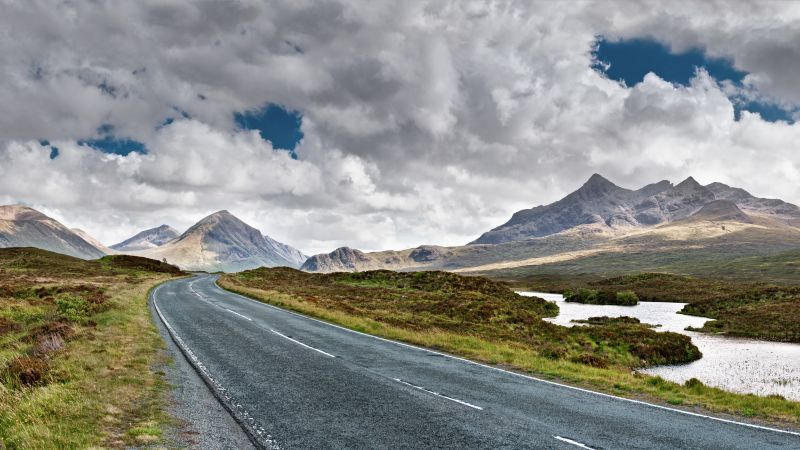 Isle of Skye, Scotland, road, mountain, travel, 8k (horizontal)