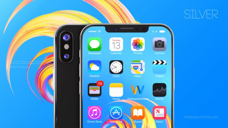 iPhone X, silver, 3D, leaked, WWDC 2017, 4k (horizontal)
