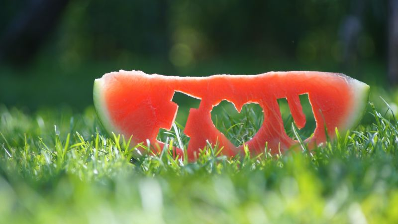 love image, watermelon, grass, 4k (horizontal)
