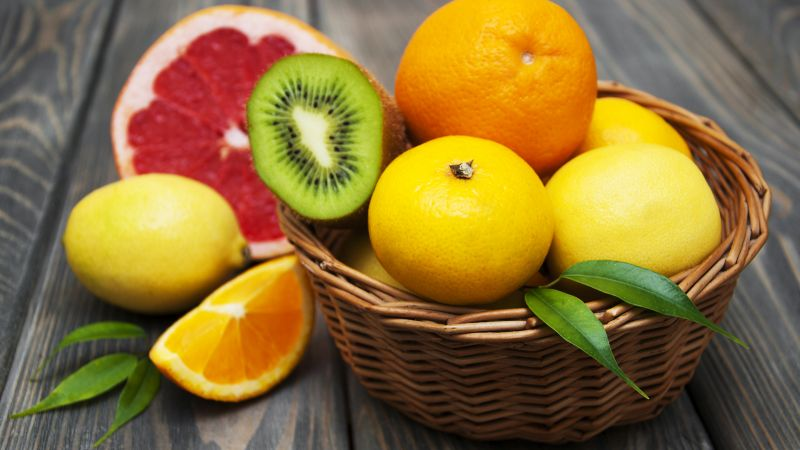 lemon, kiwi, grapefruit, orange, tangerine, fruit, 4k (horizontal)