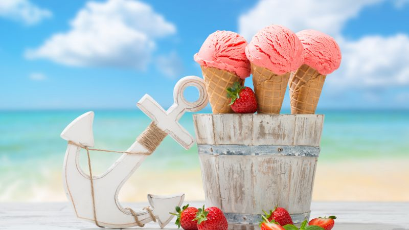 ice cream, strawberry, anchor, delicious, 8k (horizontal)