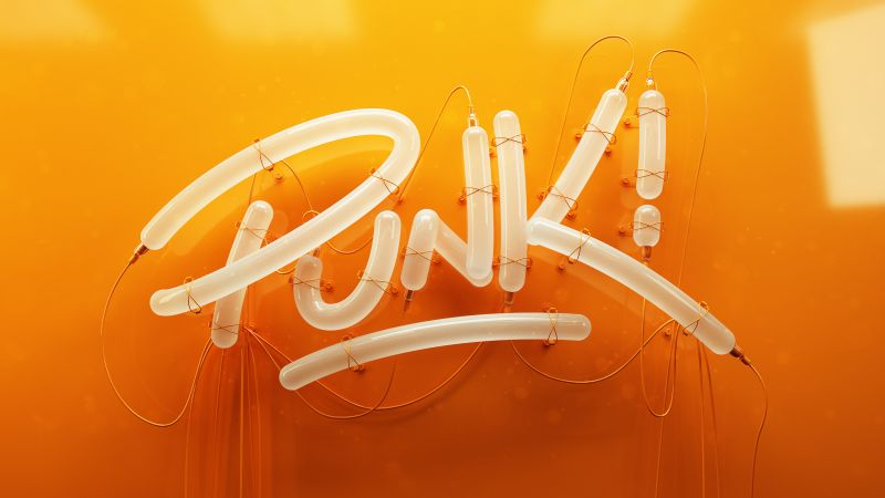 Punk, 3D letters, Typography, HD (horizontal)