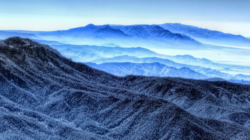 mountains, blue, 4k (horizontal)