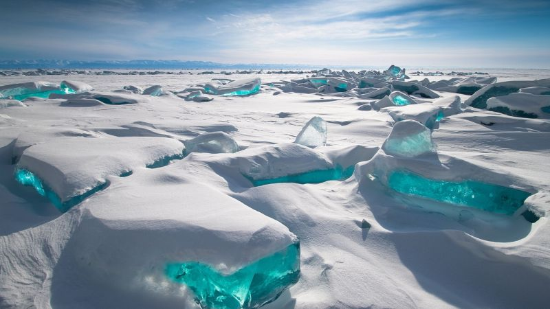 Lake Baikal, ice, snow, HD (horizontal)