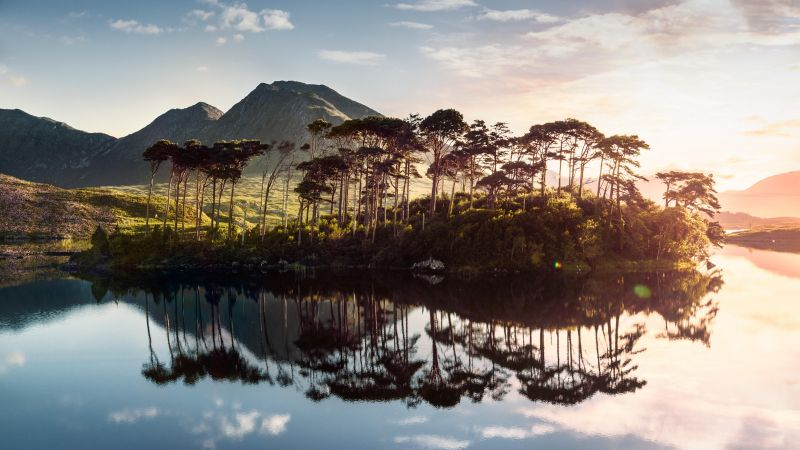 Ireland, lake, mountains, tree, sunrise, 4k (horizontal)