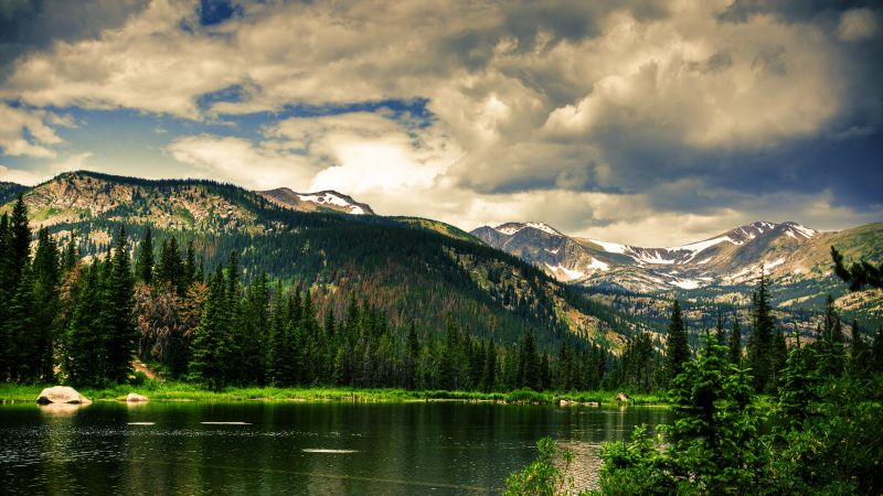 mountains, forest, lake, clouds, sky, 4k (horizontal)