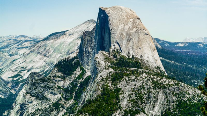Half Dome, mountain, Yosemite, National Park, California, forest, 5k (horizontal)