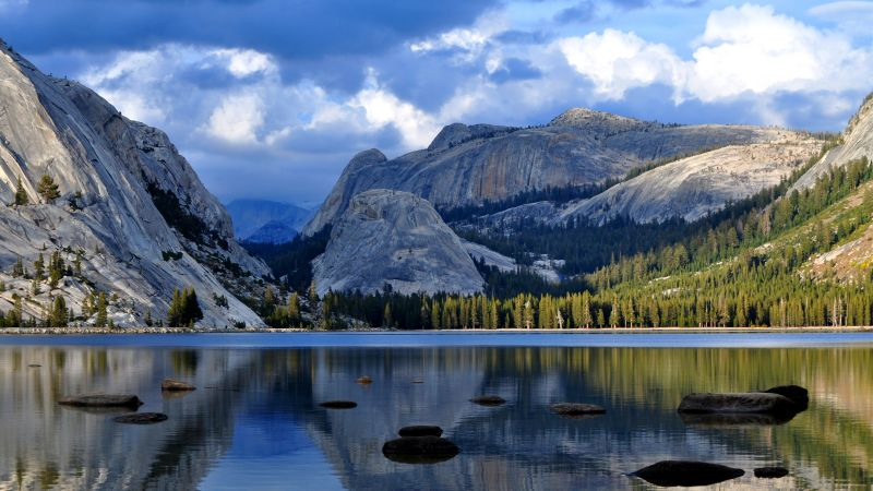 Half Dome, mountain, Yosemite, National Park, California, forest, lake, 4k (horizontal)