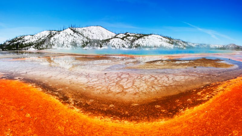 Grand Prismatic, Yellowstone National Park, mountain, 8k (horizontal)