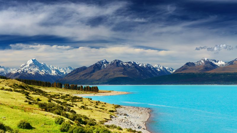 New Zealand, river, mountains, 5k (horizontal)