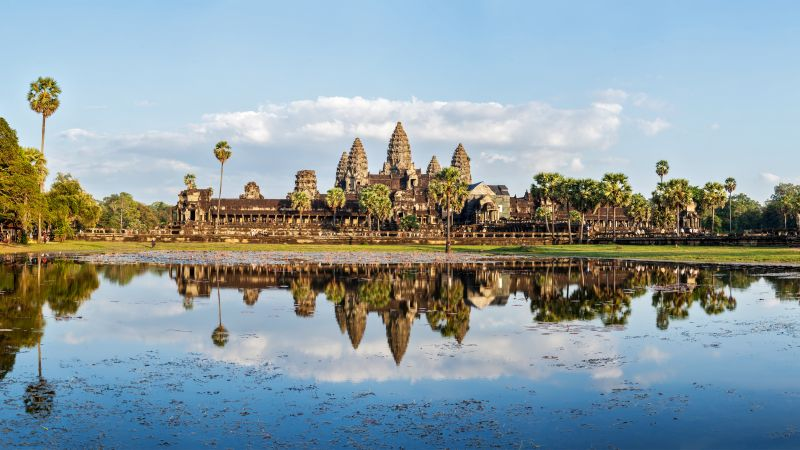 Cambodia, architecture, lake, trees, 5k (horizontal)