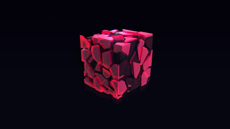 cube, 3D, pink, HD (horizontal)