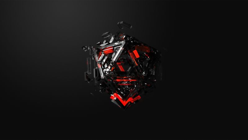 triangles, 3D, red, black, HD (horizontal)
