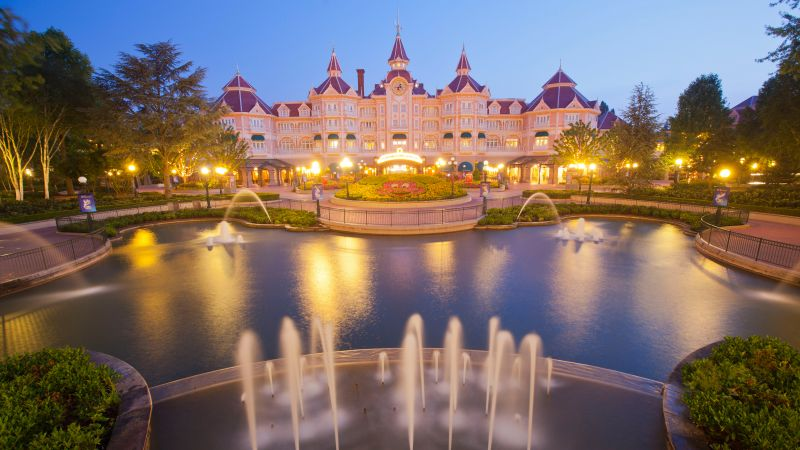 Disneyland Hotel, Paris, France, fountain, 4k (horizontal)