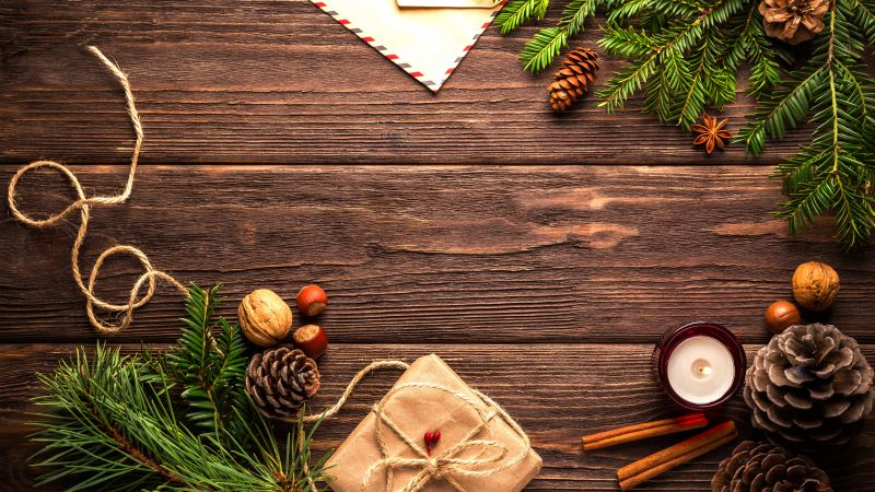 Christmas, New Year, table, fir-tree, 5k (horizontal)