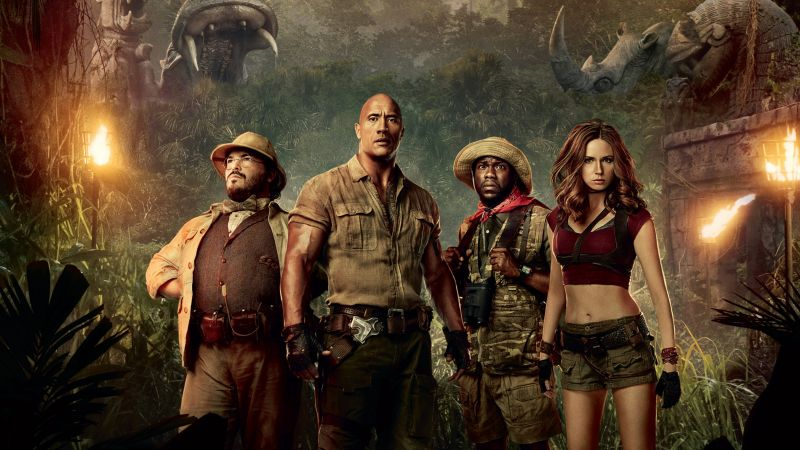 Jumanji: Welcome to the Jungle, Jack Black, Kevin Hart, Dwayne Johnson, Karen Gillan, 4k (horizontal)