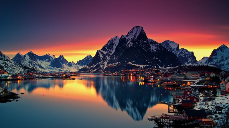 Norway, Lofoten islands, Mountains, sea, sunrise, 5k (horizontal)