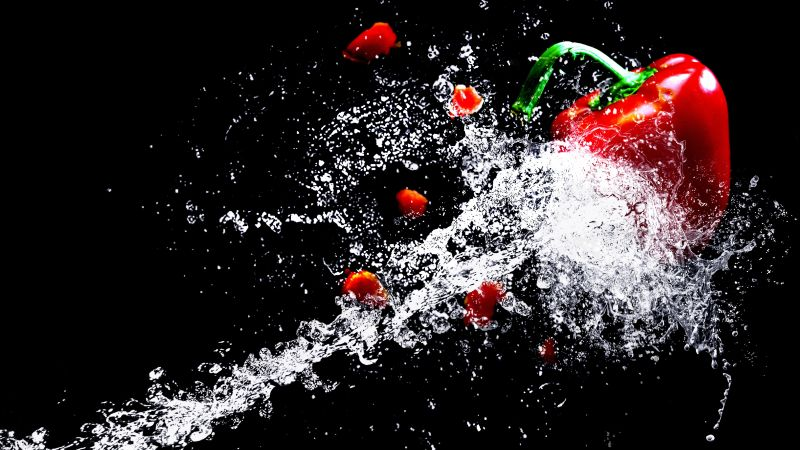 paprika, water, splash, vegetables, 4k (horizontal)