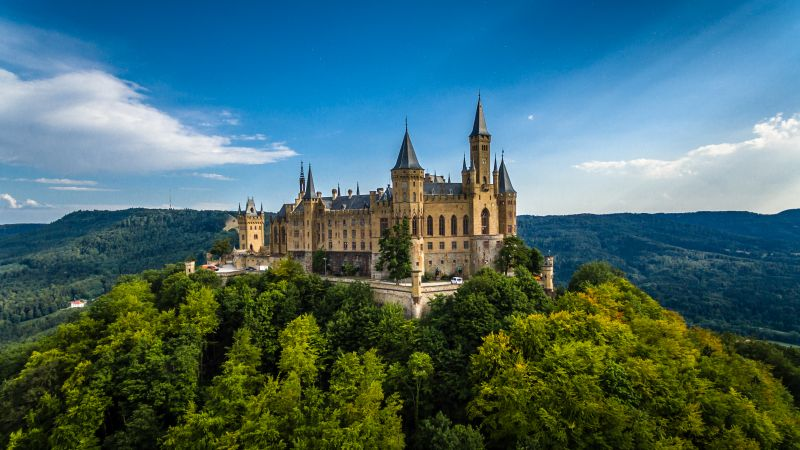 Hohenzollern Castle, Germany, forest, sky, 4k (horizontal)