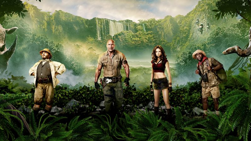 Jumanji: Welcome to the Jungle, Jack Black, Kevin Hart, Dwayne Johnson, Karen Gillan, 8k (horizontal)