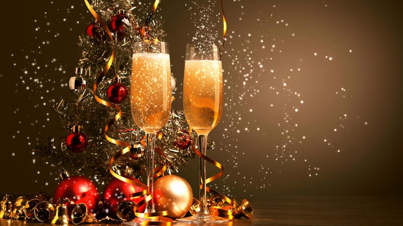 Christmas, New Year, champagne, balls, decorations, 4k (horizontal)