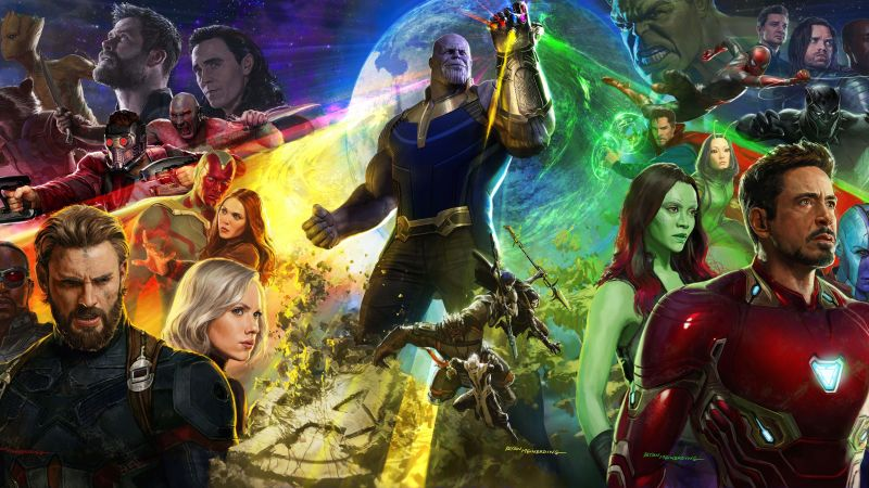 Avengers: Infinity War, Captain America, Spiderman, Hawkeye, Wanda Maximoff, Iron Man, art, 8k (horizontal)