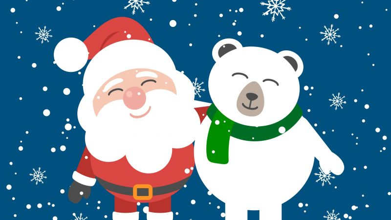 Christmas, New Year, Santa, bear, HD (horizontal)