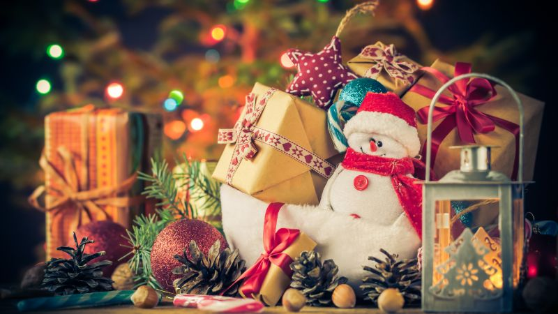 New year, Christmas, gifts, snowman, 4k (horizontal)