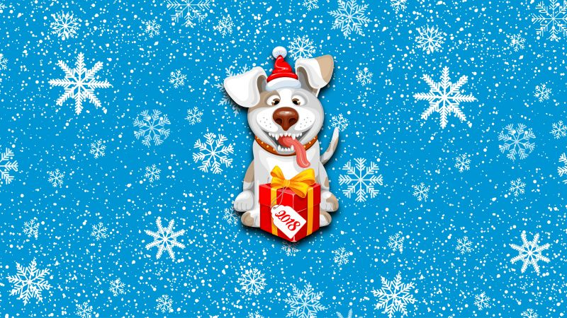 Christmas, New Year, snow, dog, cute animals, 8k (horizontal)