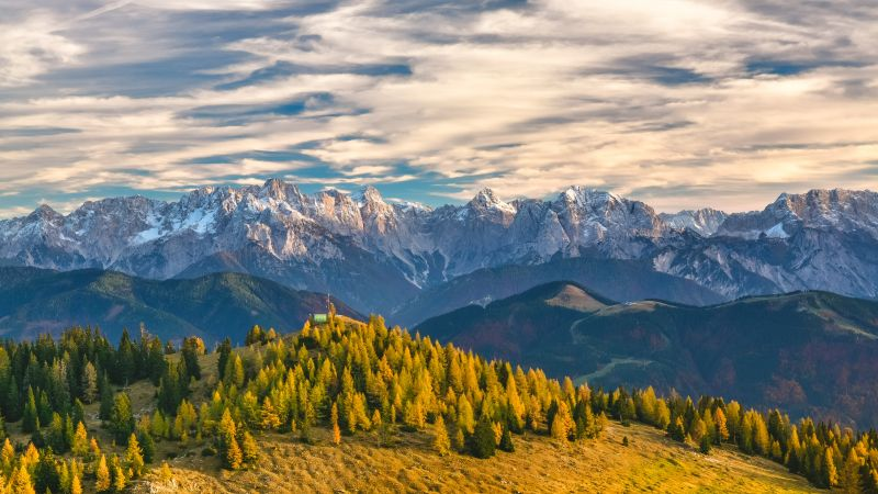 Alps, Switzerland, mountains, trees, 4k (horizontal)