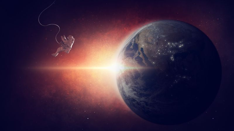 earth, planet, space, galaxy, astronaut, 5k (horizontal)