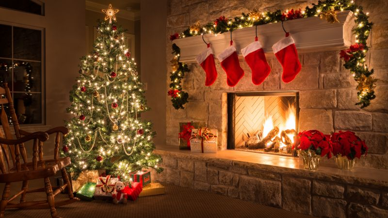 Christmas, New Year, gifts, fir-tree, fireplace, decorations, 5k (horizontal)