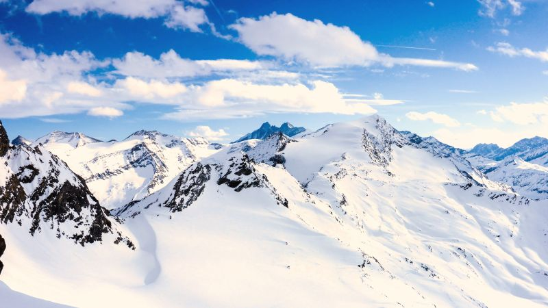 Grossglockner, mountains, Austria, snow, winter, sky, clouds, 5k (horizontal)