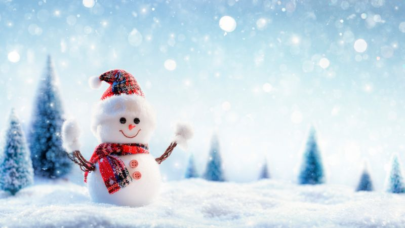 Christmas, New Year, snow, winter, snowman, 8k (horizontal)