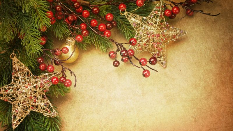 Christmas, New Year, decoration, fir-tree, 5k (horizontal)