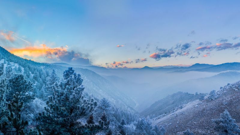 mountains, forest, winter, clouds, 4k (horizontal)