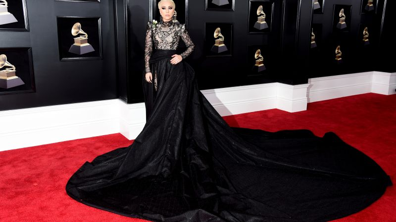 Lady Gaga, dress, Grammy 2018, 4k (horizontal)